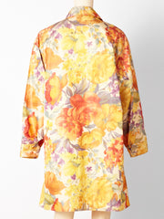 Bill Blass Floral Chine Taffeta Spring Coat