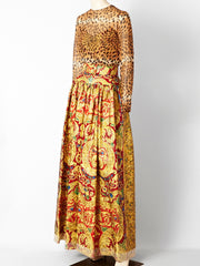 Bill Blass Brocade and Leopard Print Gown