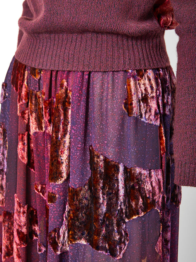 Bill Blass Velvet and  Cashmere Knit Palazzo Pant Ensemble