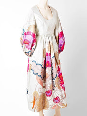 Bill Blass Floral Brocade Maxi Dress Late 60's