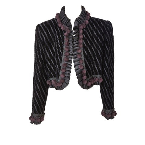 Bill Blass Embroidered Velvet Cropped Jacket With Ruffle Trim