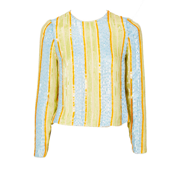 Bill Blass Striped Sequined Top