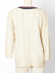 Bill Blass Sequined Varsity Cardigan and Shell