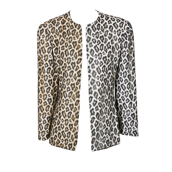 Bill Blass  Leopard Pattern Lace and Sequined Evening Cardigan