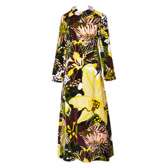 Bill Blass Floral Pattern Velvet Maxi Dress 1970's