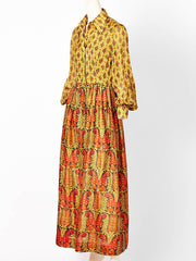 Bonwit Teller Silk Paisley Pattern 70's Boho Maxi Dress