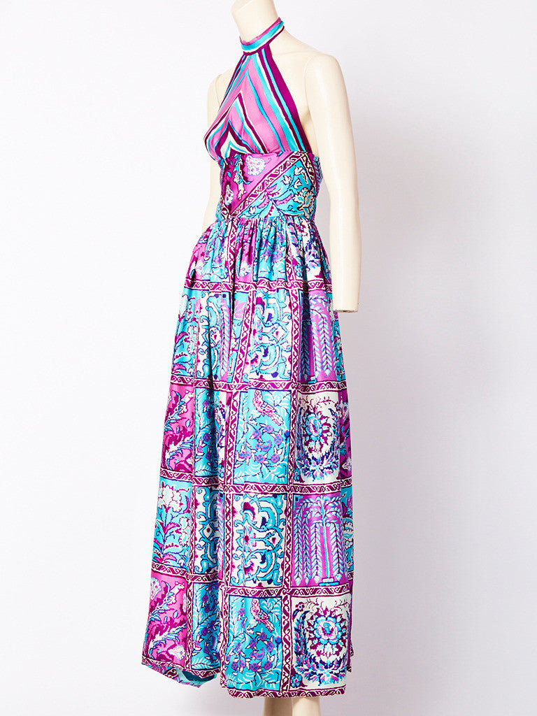 Donald Brooks Printed Silk Halter Dress