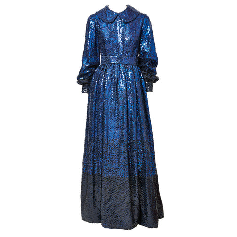 Donald Brooks Sapphire Blue Sequined Gown C. 1970