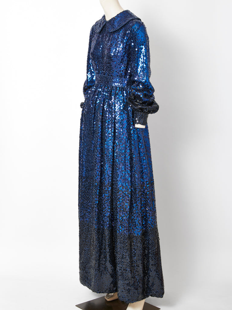 Donald Brooks Sapphire Blue Sequined Gown C. 1970's