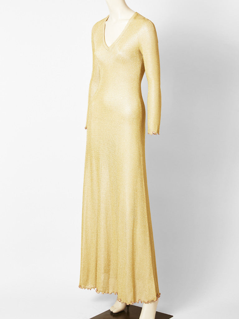 Stephen Burrows Gold Lame Knit Maxi Dress