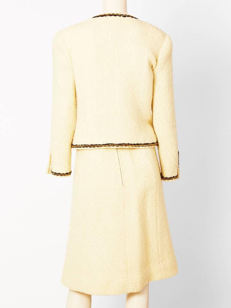 Chanel Classic Ivory Wool Boucle Suit