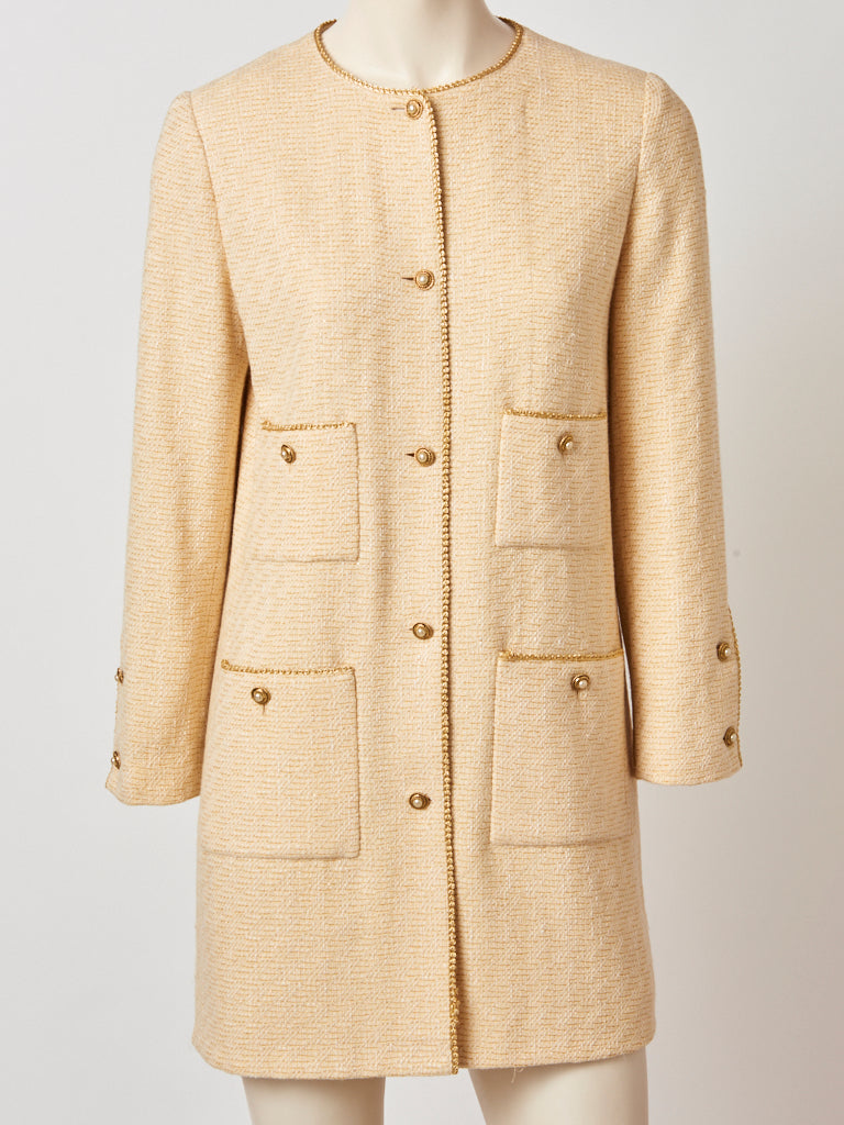 Chanel Wool Bloucle Cardigan Jacket with Gold Trim
