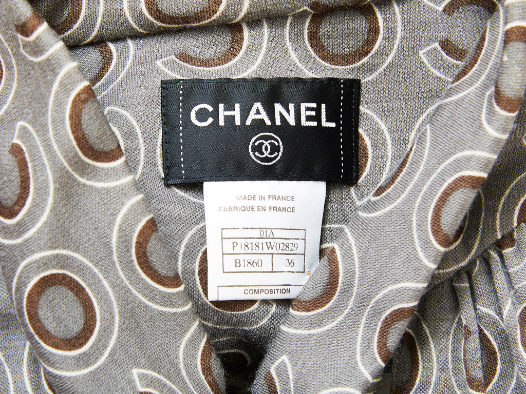 "Chanel Jersey Knit Geometric ""C' Print Day Dress"