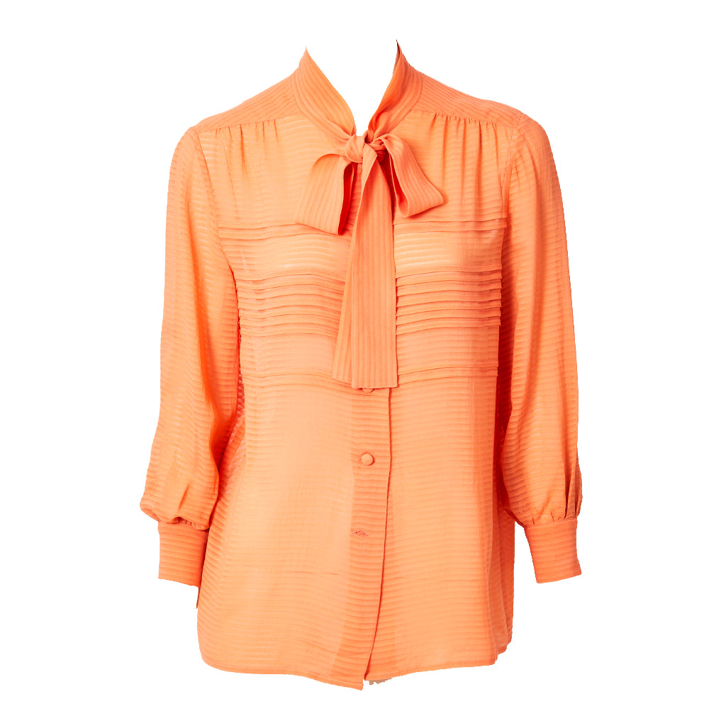 Chanel Silk Georgette Blouse With Tie