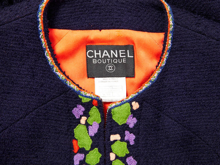 Chanel Wool Boucle With Appliqued Abstract Flowers