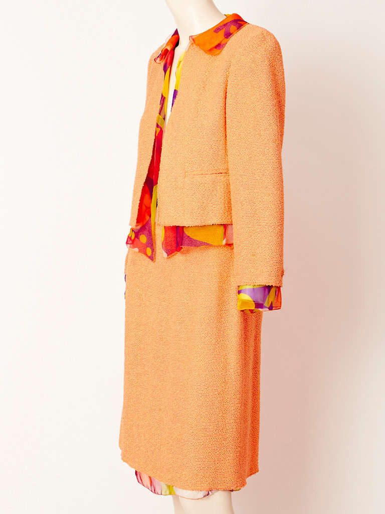 Chanel Boucle Day Suit With Printed Chiffon Detail