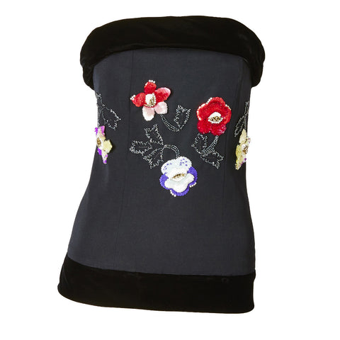 Chloe Wool and Velvet Bustier With Floral Embellishment