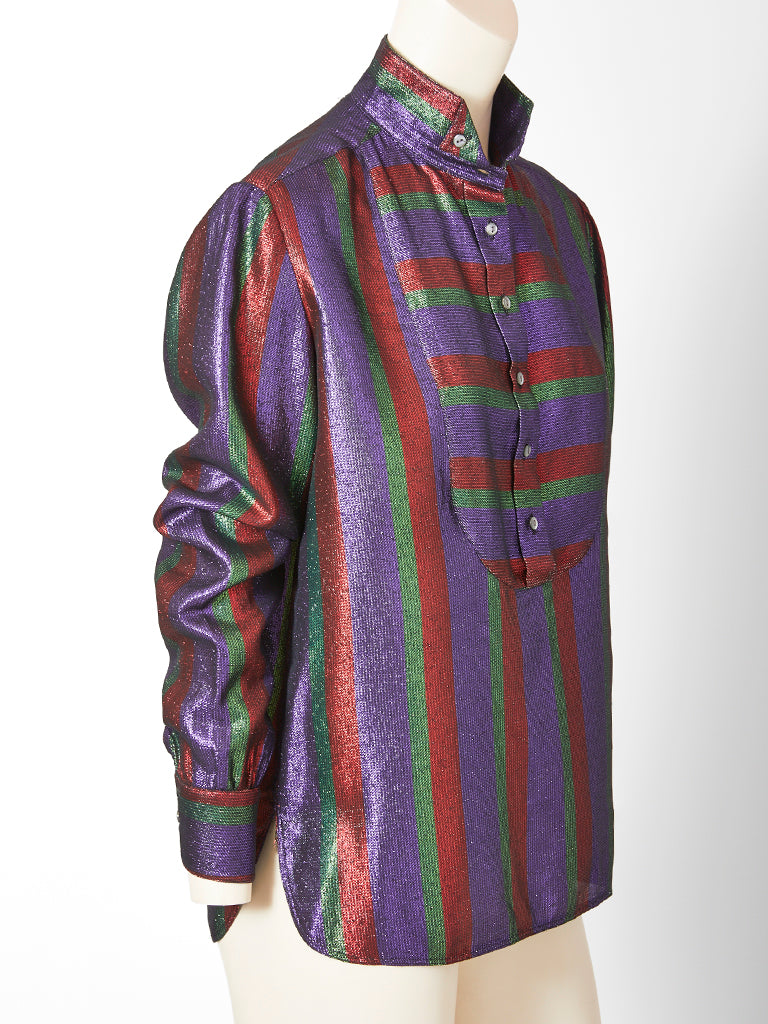 Karl Lagerfeld For Chloe Metallic Stripe Tuxedo Shirt