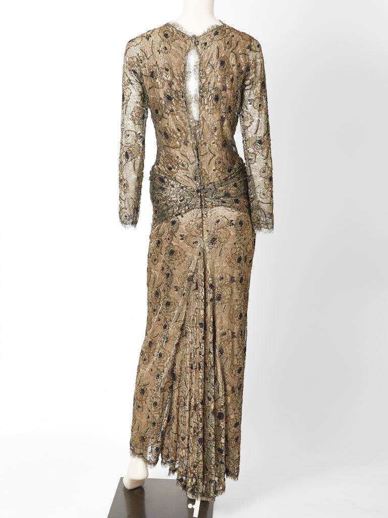 Oscar De La Renta Metallic Lace Evening Gown Marlenewetherellcom