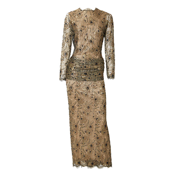 Oscar de la Renta Metallic Lace Evening Gown