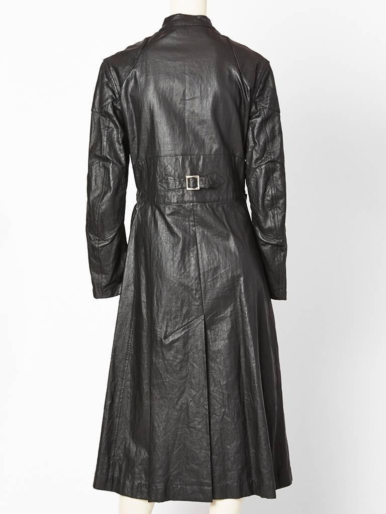 John Galliano For Dior Belted Waxed Linen Coat