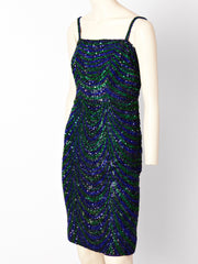Christian Dior Couture Beaded and Sequined Cocktail Dress