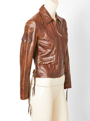 John Galliano For Dior Distressed Leather Jacket
