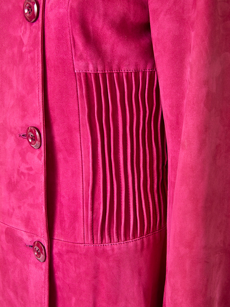 John Galliano for Christian Dior Fuchsia Double Breasted Suede Coat