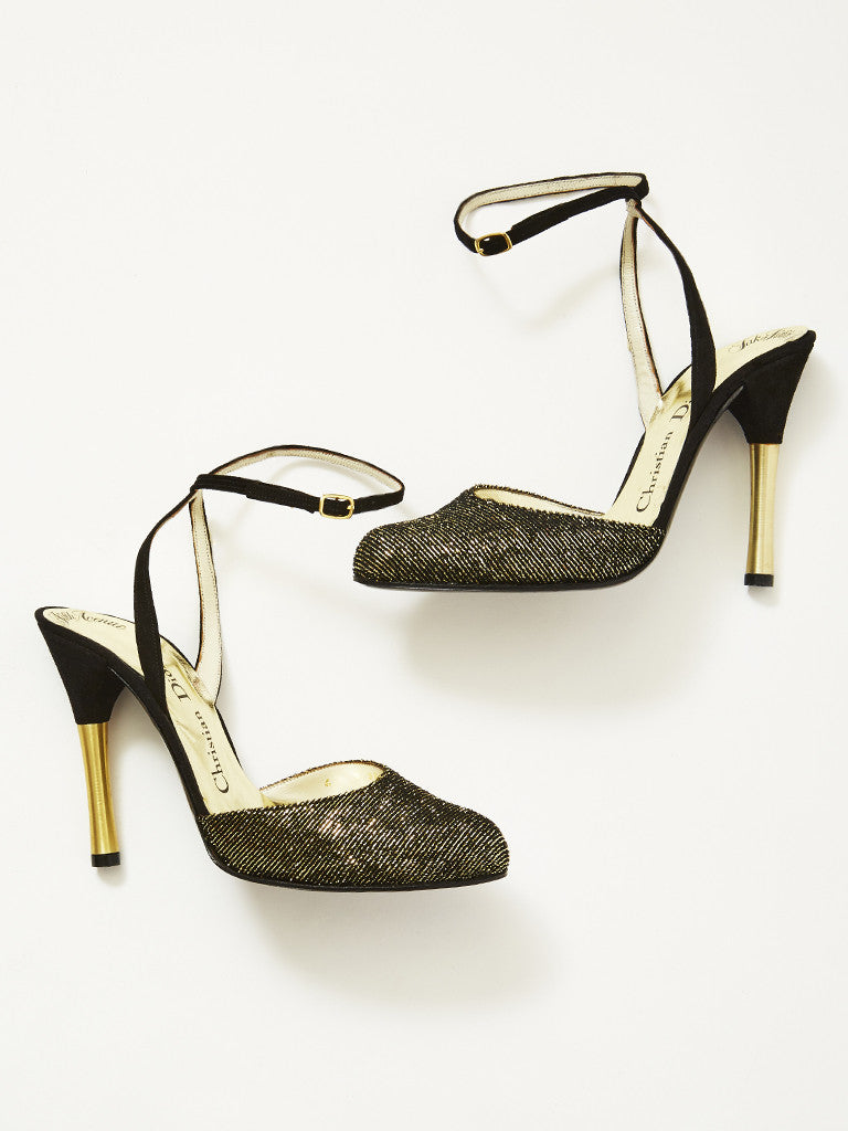 Christian Dior Gold and Black Ankle Strap Shoe