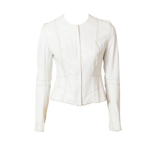John Galliano for Dior Fitted  Leather Jacket with Top Stitching Detail