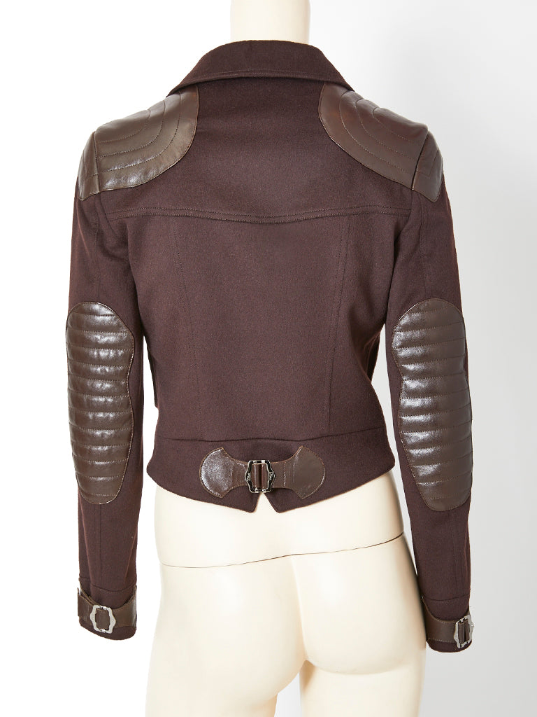 John Galliano for Dior Leather and Wool Bomber Jacket