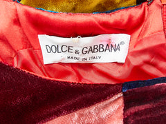 Dolce and Gabbana Velvet Patchwork Gown