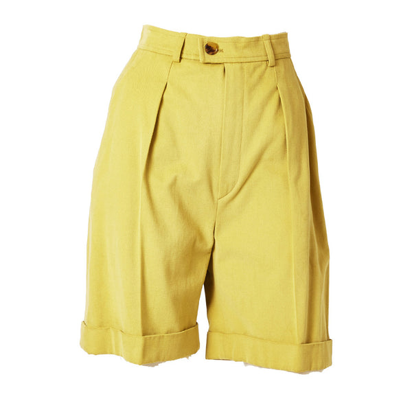 Yves Saint Laurent Sueded Cotton Cuffed Shorts