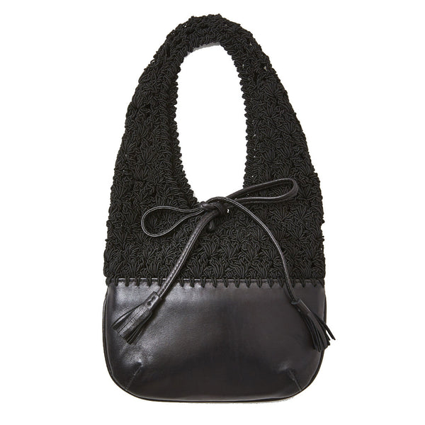 "Ferragamo Leather and Crocheted ""Market Bag"""