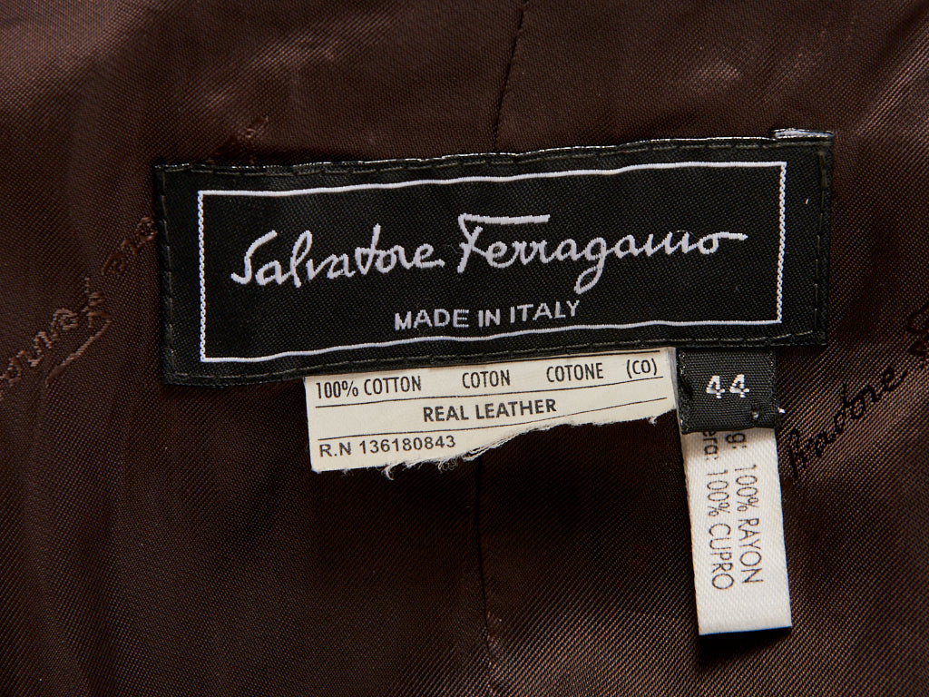 Ferragamo Pea Jacket with Leather Detail