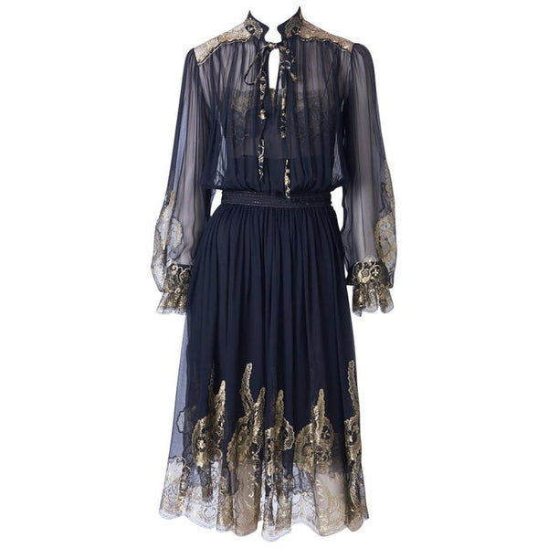 Ferragamo Chiffon Peasant Dress With Gold Lace Detail
