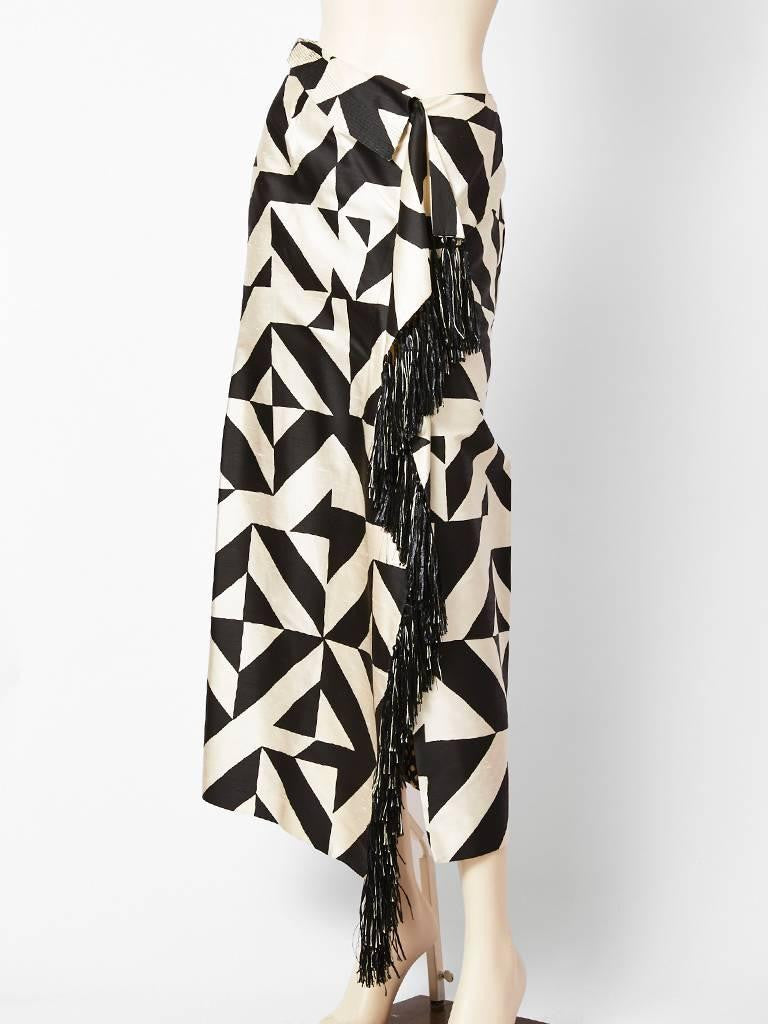 Gianfranco Ferre Graphic Print Fringed Skirt