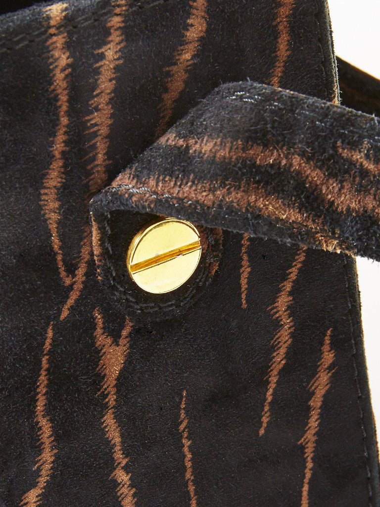 Maud Frizon Animal Print Suede Box Bag