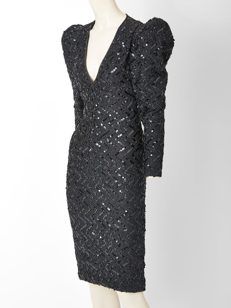 Galanos Beaded and Sequined Cocktail Dress