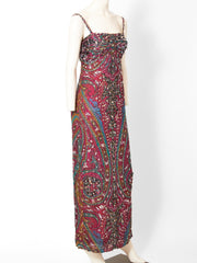 Galanos  Paisley Pattern Beaded Gown
