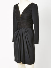 Galanos Draped Jersey Cocktail Dress