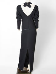 Galanos Wool Crepe Gown with Trompe L'oeil Detail