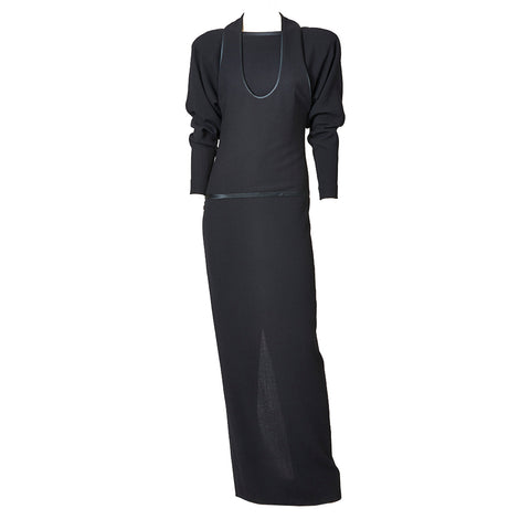Galanos Wool Crepe Gown with Trompe L