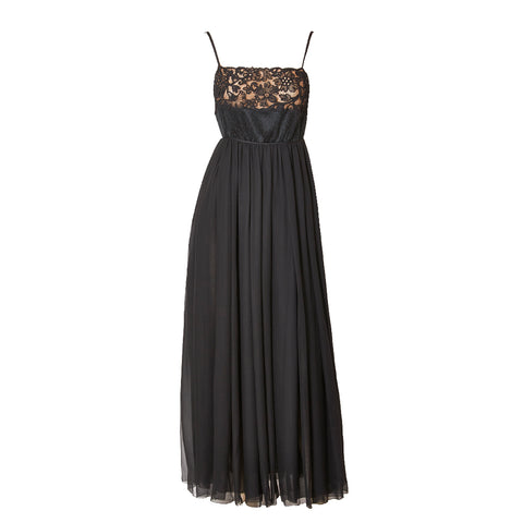 Galanos Chiffon and Lace Open Back Gown