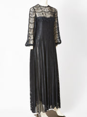 Galanos Open Work Evening Gown
