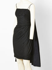 Galanos Black Ruched Cocktail Dress