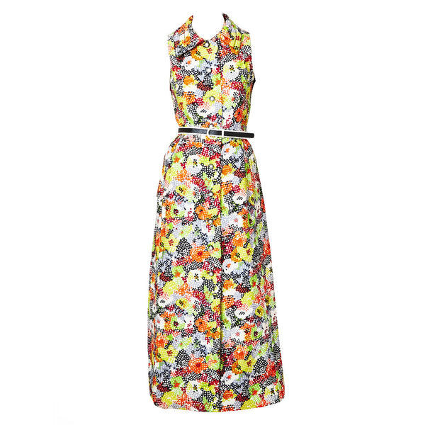 Galanos Floral Silk Maxi Dress and Jacket Ensemble