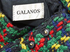 Galanos Graphic Wool Tweed Plaid Pattern Day Dress