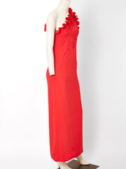 Galanos One Shoulder Gown with Trapunto Detail