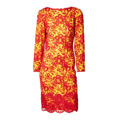 Galanos Red and Yellow Lace Cocktail Dress